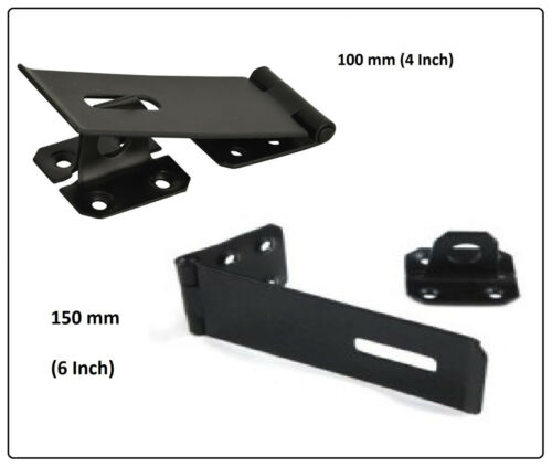 HASP AND STAPLE Gate Door Shed Latch Lock For security Padlock BLACK POWDER COAT