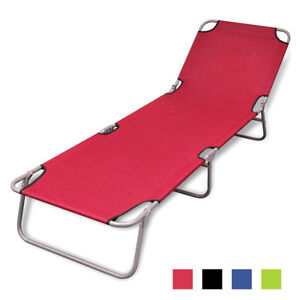 Image Is Loading Vidaxl Patio Folding Sun Lounger Bed Outdoor Portable