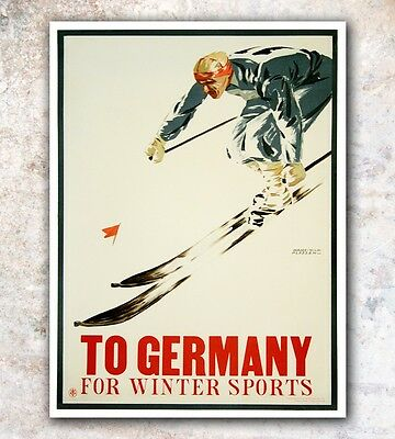 "Germany Ski Poster Art Vintage German Travel Print 12x16"" Rare Hot New A591"