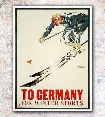 "Germany Ski Poster Art Vintage German Travel Print 12x16"" Rare Hot New A591"