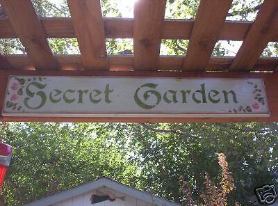"""SECRET GARDEN wood sign large 34/"""" H//P roses"""