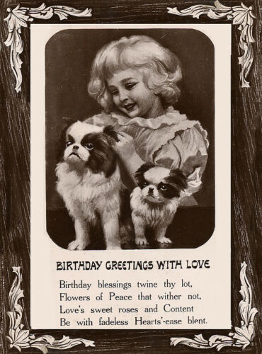 JAPANESE CHIN DOG GREETINGS NOTE CARD LITTLE GIRL /& TWO DOGS BIRTHDAY GREETINGS