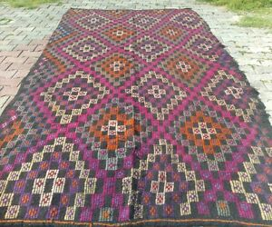 "Kind-Hearted Exclusive 1950-1960s Zili Woven Kilim5'4""×11'4"" Se Of Turkey Quell Summer Thirst Rugs & Carpets"
