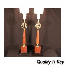 Pair of Vintage Mid Century Modern Lightolier Brass Orb Lamp Gerald Thurston era