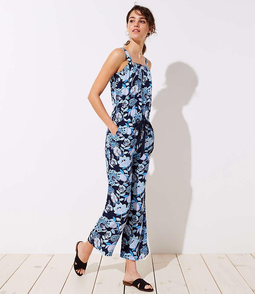 NWT LOFT Women's Tall Pineapple Dream Jumpsuit  - bluee - Size 4 Tall