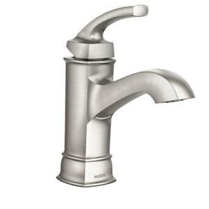 moen ws84414msrn hensley single handle 1 hole bathroom faucet spot resist brushed nickel - Moen Bathroom Faucets