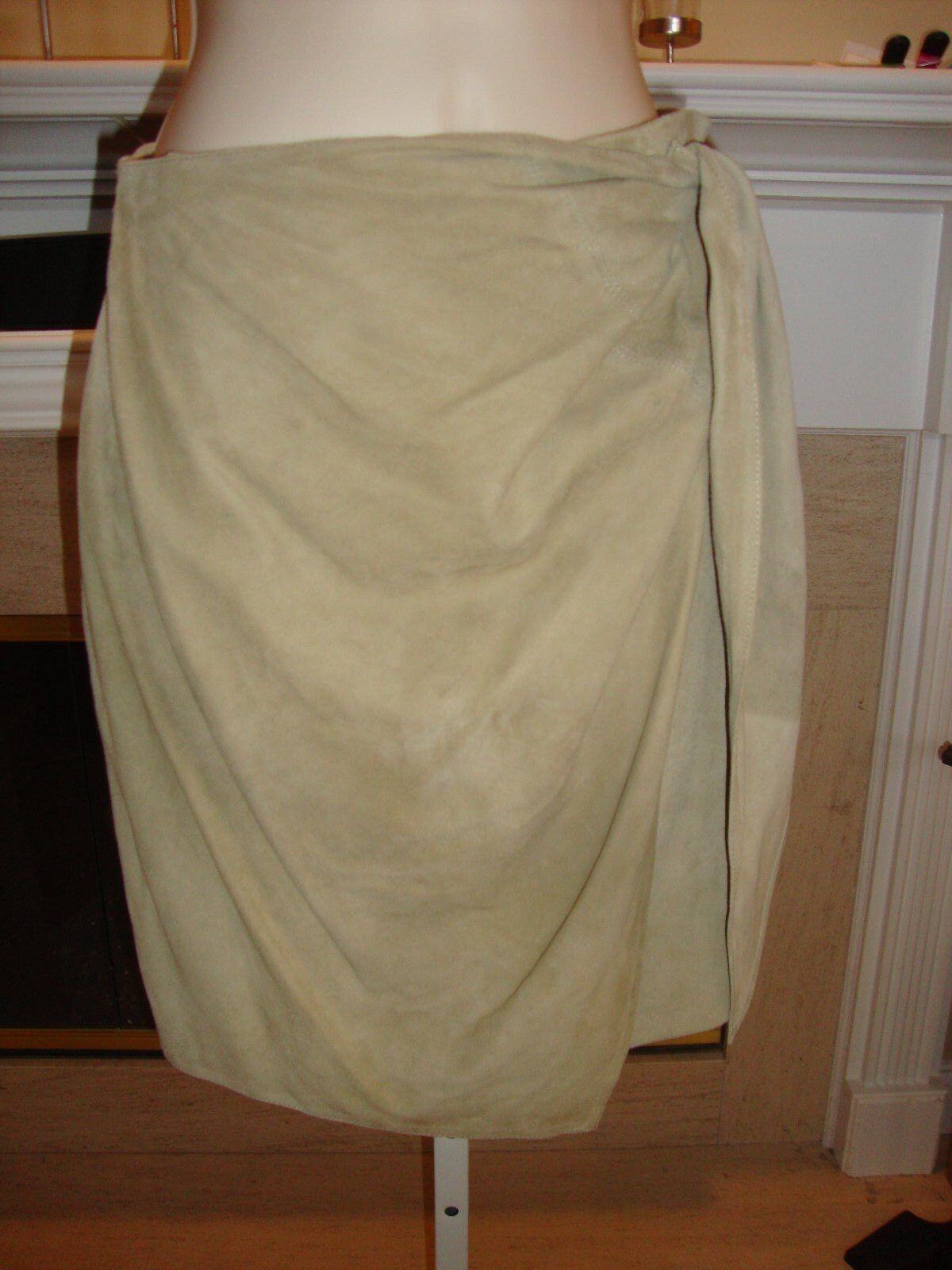 GORGEOUS, RARE, NEW  2,995 women KARAN OLIVE SUEDE FAUX WRAP SKIRT