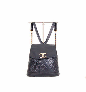 One-of-a-Kind-AUTH-CHANEL-backpack-CC-logo-Quilted-in-lambskin-from-the-80s