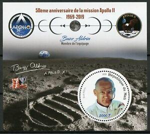 Mali-2019-Gomma-integra-non-linguellato-APOLLO-11-Allunaggio-50th-ANNIV-Buzz-Aldrin-1v-M-S