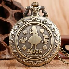 Alice in Wonderland Rabbit Chain Quartz Pocket Watch Stainless Steel Collectable