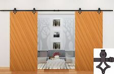 12FT Dark Coffee Country Style Barn Wood Double Sliding Door Hardware Closet Set