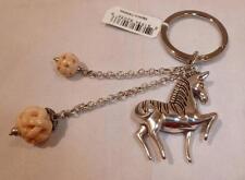 NWT Brighton Safari Zebra Silver Plated Key Chain Ring FOB E13840