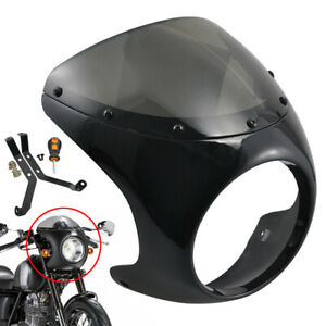 7/'/' Motorcycle Matte Black Cafe Racer Headlight Fairing Smoke Screen Windshield
