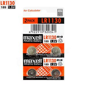4-x-pilas-alcalinas-Maxell-LR1130-1-5V-LR54-189-389-SR1130SW-AG10-Paquete-de-2