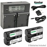 Lcd Dual Fast Charger & 2 X Battery For Sony Np-fm500h Slt-a77 Dslr-a100 Clm-v55