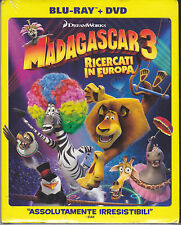 Blu-ray + Dvd DreamWorks **MADAGASCAR 3 ♥ RICERCATI IN EUROPA** slipcase 2012