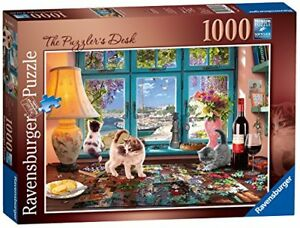 Ravensburger-The-Puzzlers-Desk-1000-piece-Jigsaw-Puzzle-Cat-Kittens-Cute-Animals