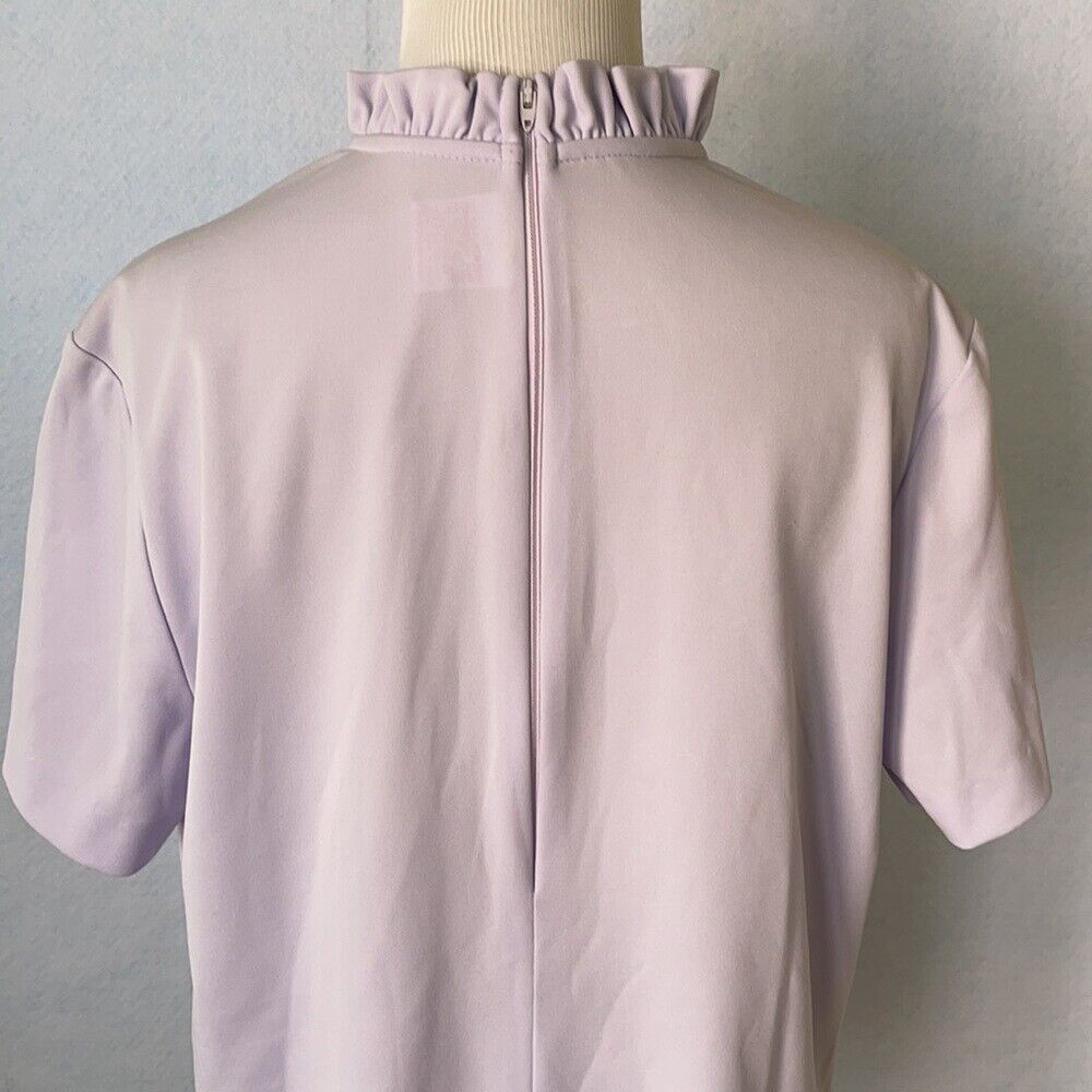 Graff Vintage Lilac Ruffled High Tie Neck Blouse,… - image 7