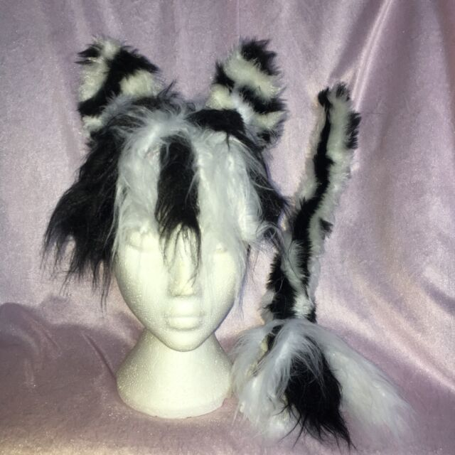 White Faux Fur Instant Fancy Dress Sylvester The Cat Ears And Tail Set Black