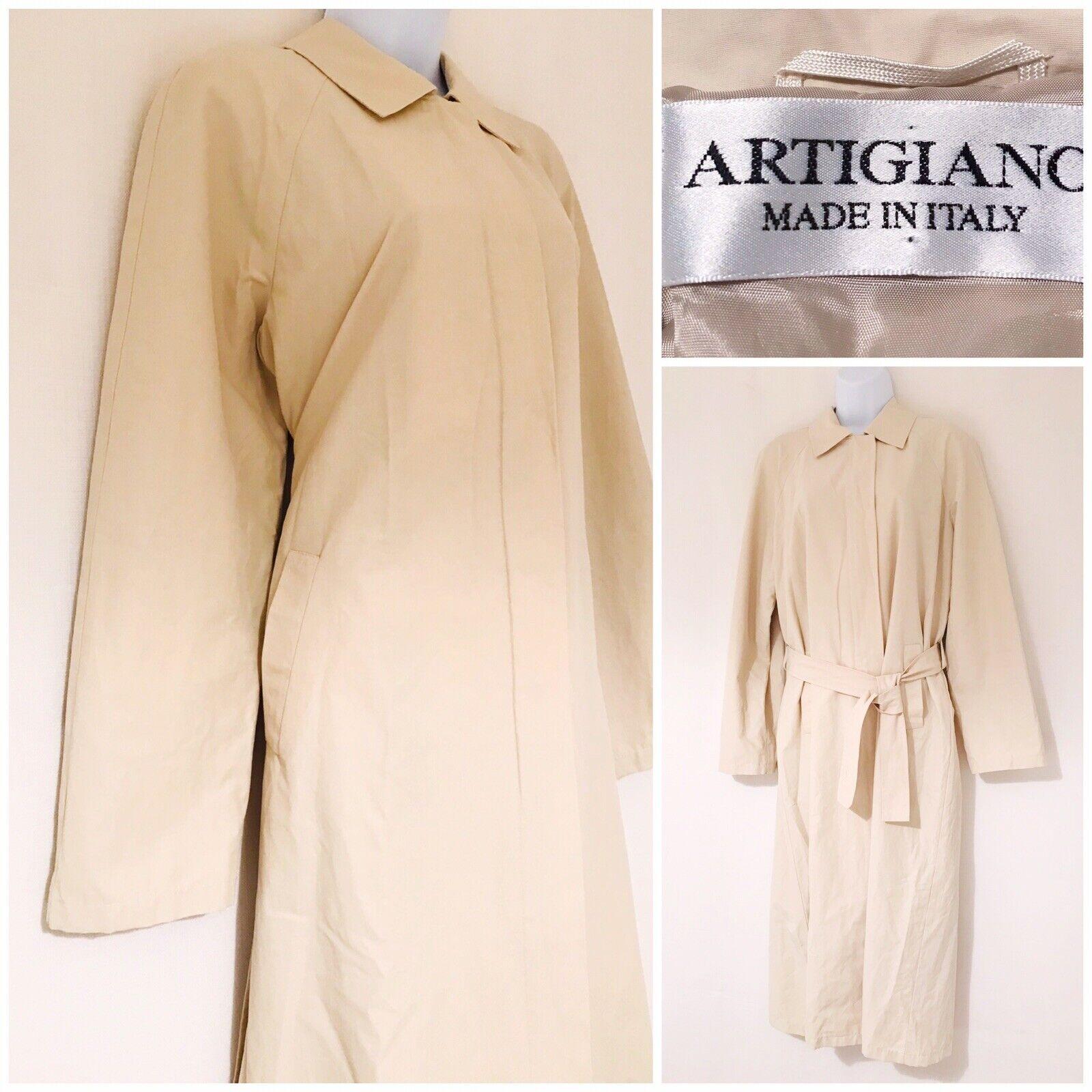 damen's Designer Trench Coat Mac Größe 14 Light Weight Summer Artigiano Cotton
