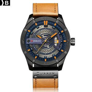 CURREN-8301-Men-Sports-Watches-Quartz-Casual-Leather-Wrist-Watch-B