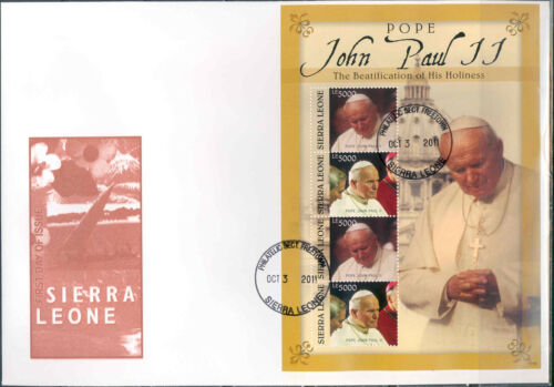 SIERRA LEONE BEATIFICATION OF POPE JOHN PAUL II SHEET FIRST DAY COVER