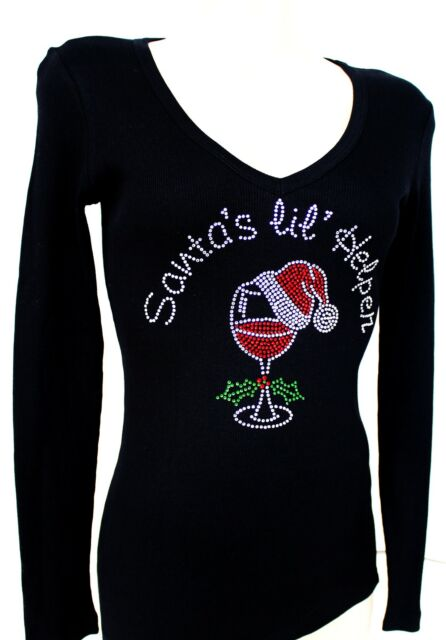 RHINESTONE SANTA'S LIL HELPER  SHEER JUNIOR V NECK SHIRT NEW TOP S - 3XL USA