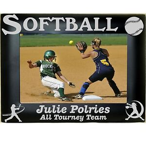 Softball-Personalized-Metal-Picture-Photo-Frames-4x6-5x7-8x10-Laser-Engraved