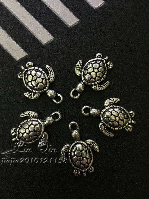 PJ287/ 10pc Tibetan Silver Charms Tortoise Retro Accessories Wholesale