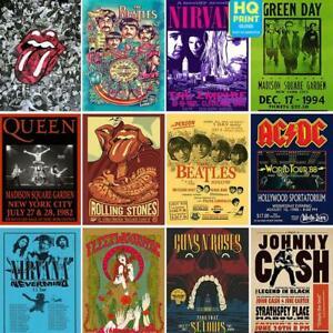 VINTAGE RARE BAND ROCK Concert Tour Music ACDC NIRVANA PostersA4 A3 A2 A1