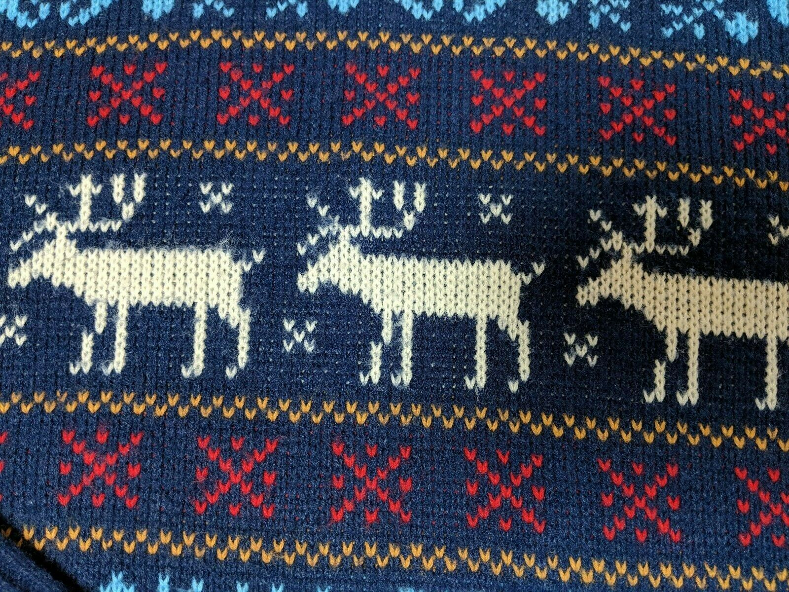 Vintage Jersild Sweater Deer Print Blue Red Acryl… - image 7