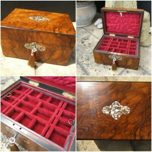 ANTIQUE JEWELLERY BOX -  EARLY 19c INLAID FIGURED WALNUT WONDERFUL INTERIOR