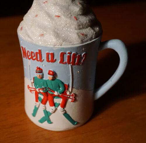 NEED A LIFT ? I LOVE SKIING Skier Ski Lodge Coffee Mug Cup Ornament Set NEW