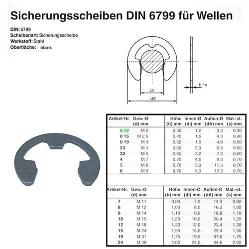 Sicherungsscheibe DIN 6799 für Welle Stahl