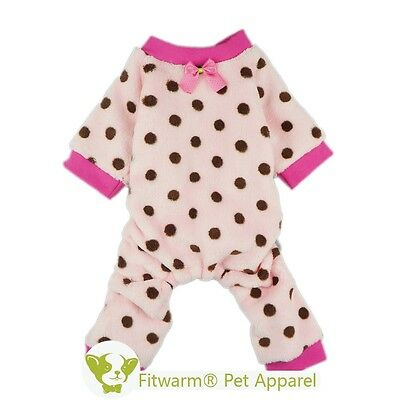Fitwarm Cute Dots Dog Pink Coat Small Medium Pet Clothes Pajamas Free Shipping