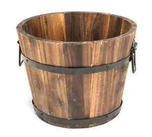 Wooden Barrel Planter Cedar Garden Plant Pot Small Outdoor Flower