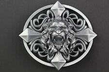 3D LION HEAD BELT BUCKLE METAL OVAL CROSS UK  PATTERN