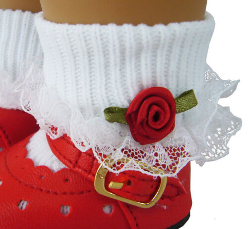 PATRIOTIC Lace Trim Socks w// Red Rosebuds made for American Girl Doll Clothes