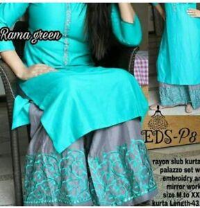 Indian-kurta-dress-With-Pant-palazzo-newTopTunic-Set-blouse-Combo-Ethnic-Bottom