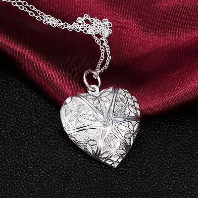 New Silver Plated Necklace Pendant Love Valentine Lover Locket Chain T