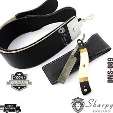 SALON STRAIGHT CUT THROAT WET SHAVING RAZOR > DAMASCUS, LEATHER SHARPENING STROP