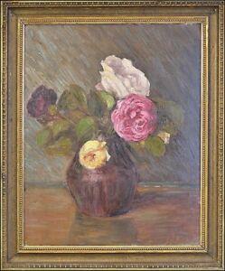 Impressionist-Style-life-with-Roses-Jugendstil-Art-Nouveau-47-x-39-cm