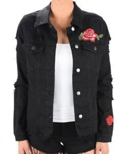 Women's Black Denim Jean Jacket Embroidery Floral Button Short Jean Tops