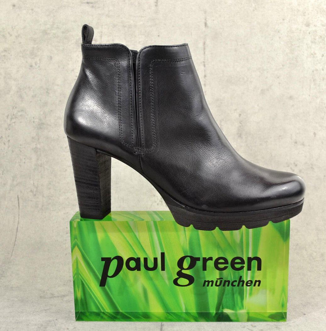NEU PAUL GREEN 9065 modische Damen Stiefelette 9065 GREEN schwarz Leder c80dc3