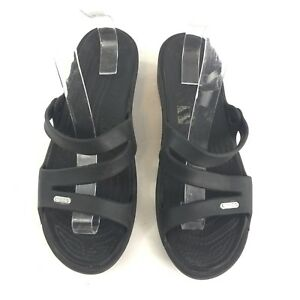 5fc5bc0028d Image is loading Crocs-10-Womens-Patricia-Black-Strappy-Wedge-Sandals-