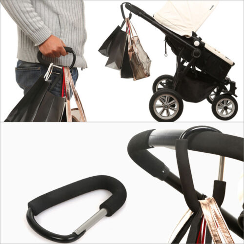 Alloy Pushchair Hook Clip Large buggy pram Shopping Bag strong mummy Carry clip
