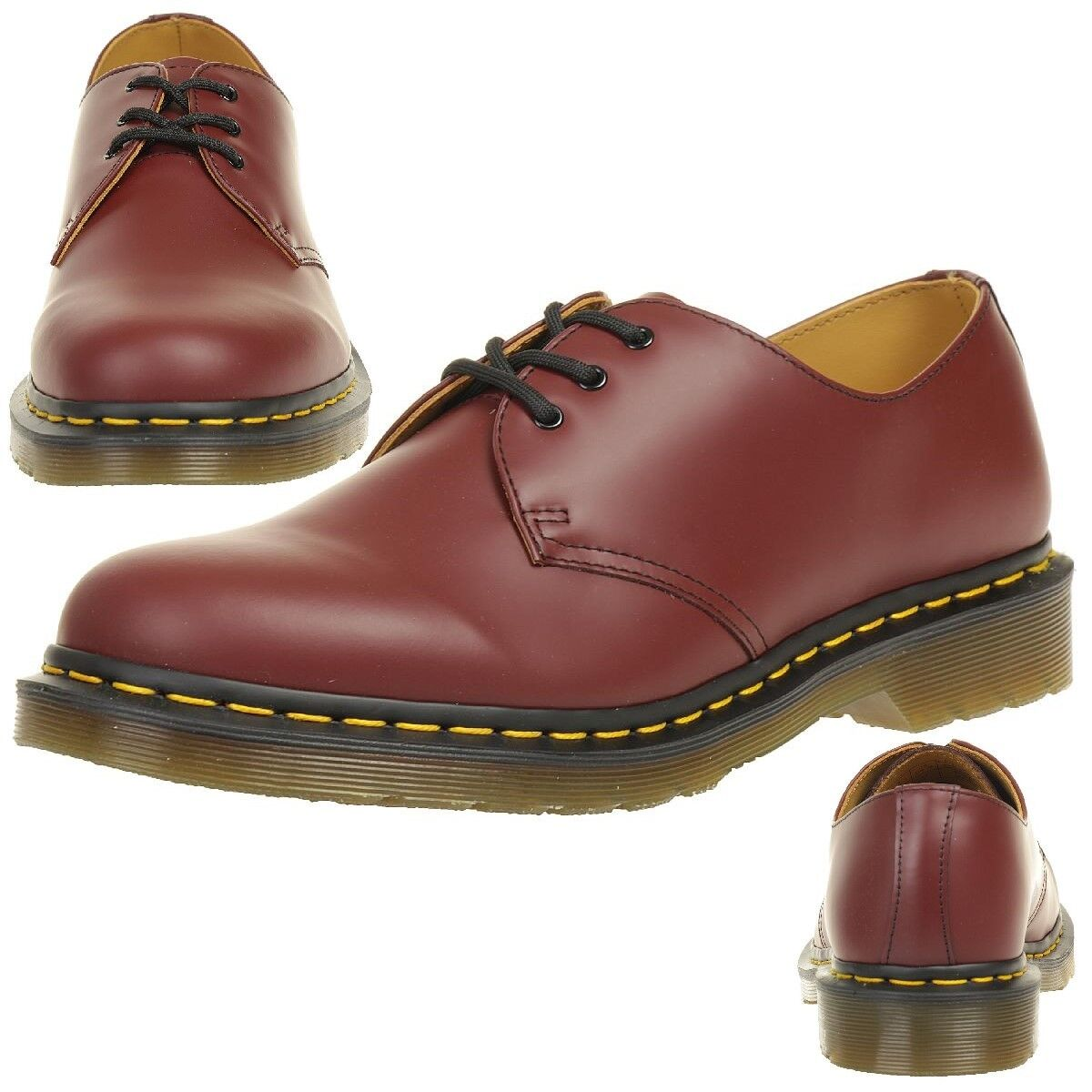 Scarpe casual da uomo  Dr.Martens 1461 Cherry Red Smooth Low Shoes Red Leather