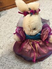 """EASTER BUNNY RABBIT 12"""" Purple Doll Dress with Wings Stuffed Soft Toy"""