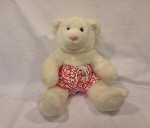 "Build A Bear Workshop BABW Stuffed Plush White Bear Pink Nose 14"" with Shorts"