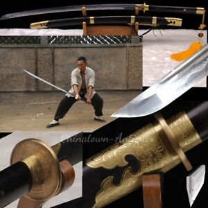 Hmong Sabre Sword Miao Dao Kobuse Jihada Forged Pattern Steel Blade Sharp #2175